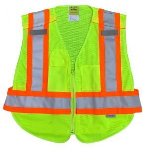Hi Vis ANSI Class 2 Contrast Break-a-Way Mesh Safety Vest