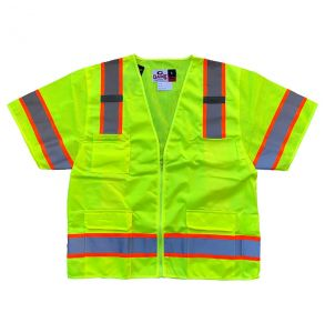 Hi Vis ANSI Class 3 Economy Zippered Contrast Mesh Safety Vest