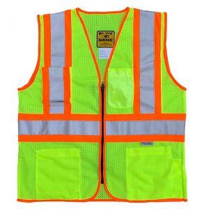 Hi Vis ANSI Class 2 DOT Contrast Zippered Mesh Safety Vest