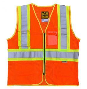 Hi Vis ANSI Class 2 DOT Contrast Zippered Mesh Safety Vest | Hi-Vis Orange