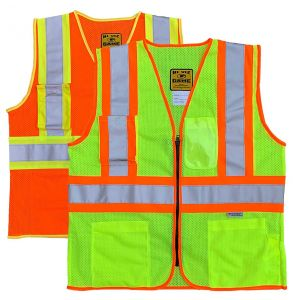 Hi Vis ANSI Class 2 DOT Contrast Zippered Mesh Safety Vest