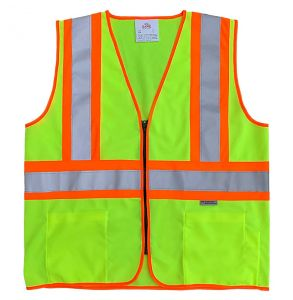 Hi Vis ANSI Class 2 DOT Contrast Zippered Safety Vest | Hi-Vis Lime