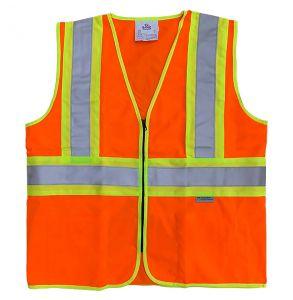 Hi Vis ANSI Class 2 DOT Contrast Zippered Safety Vest | Hi-Vis Orange