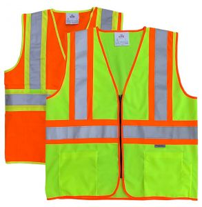 Hi Vis ANSI Class 2 DOT Contrast Zippered Safety Vest