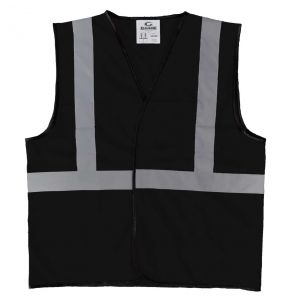 Enhanced Visibility Economy Work Zone Hook and Loop Safety Vest - Black | Front