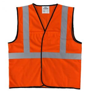 Enhanced Visibility Economy Work Zone Hook and Loop Safety Vest - Orange | Front