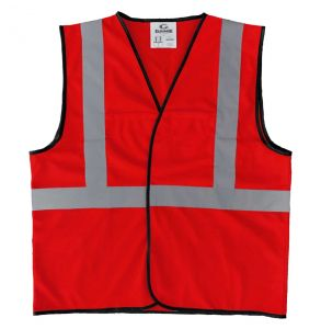 Enhanced Visibility Economy Work Zone Hook and Loop Safety Vest - Red | Front