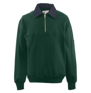 Firefighters Denim Collar Quarter-Zip Defender Work Shirt | Dark Green