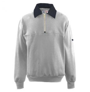 Firefighters Denim Collar Quarter-Zip Defender Work Shirt | Grey
