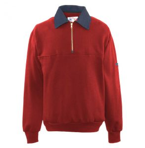 Firefighters Denim Collar Quarter-Zip Defender Work Shirt | Red