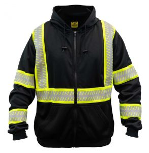 G-clipse Series Enhanced Visibility Contrast Zip-Up Hoodie Safety Sweatshirt | Front