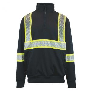 G-clipse Series Hi Vis ANSI Class 3 Contrast Survivor Quarter-Zip Sweatshirt | Black - Front