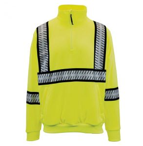 G-clipse Series Hi Vis ANSI Class 3 Contrast Survivor Quarter-Zip Sweatshirt | Lime - Front