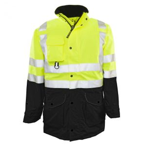 Hi Vis ANSI Class 2/3 All Weather Black Bottom 6-in-1 Safety Parka