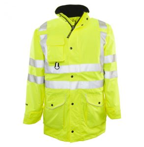 Hi Vis ANSI Class 3/2 All Weather 6-in-1 Safety Parka - Yellow | Front