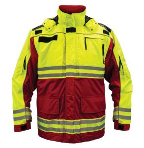 Hi Vis ANSI Class 2 All Weather 3-in-1 Rescue Safety Parka - Red | Front