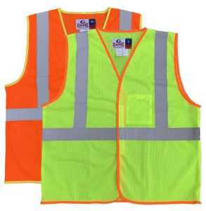 Hi Vis ANSI Class 2 Economy Hook and Loop Mesh Safety Vest