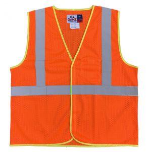 Hi Vis ANSI Class 2 Economy Hook and Loop Mesh Safety Vest - Orange | Front
