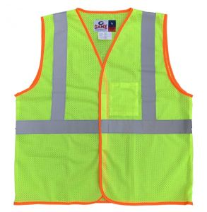 Hi Vis ANSI Class 2 Economy Hook and Loop Mesh Safety Vest - Yellow | Front