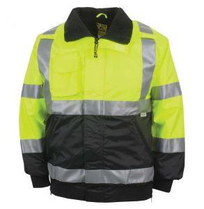Hi Vis ANSI Class 3 Black Bottom Fleece Lined Municipality Safety Bomber Jacket - Yellow | Front