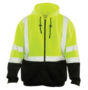 Hi Vis ANSI Class 3 Economy Black Bottom Zip-Up Hoodie Safety Sweatshirt | Front