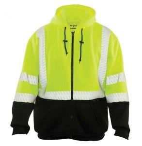 Hi Vis ANSI Class 3 Economy Black Bottom Zip-Up Hoodie Safety Sweatshirt | Front