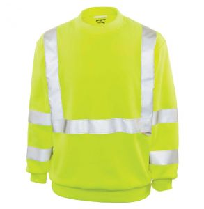 Hi Vis ANSI Class 3 Tradesman Crew Neck Safety Sweatshirt | Front