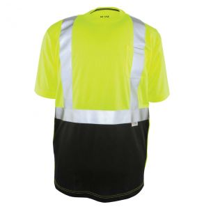 Hi Vis ANSI Class 2 Game-Wick Deluxe Black Bottom Short Sleeve Safety T-Shirt