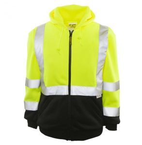 Hi Vis ANSI Class 3 Maintenance Black Bottom Zip-Up Hoodie Safety Sweatshirt | Front