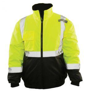 Hi Vis ANSI Class 3 Economy Black Bottom Quilt Lined Safety Bomber Jacket