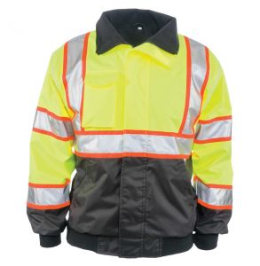 Hi Vis ANSI Class 3 Contrast Black Bottom Fleece Lined Safety Bomber Jacket - Yellow | Front