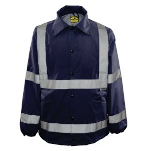 Hi Vis ANSI Class 3 Ultimate Year Round Protector Safety Rain Jacket - Navy Blue | Front
