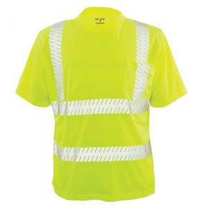 Hi Vis ANSI Class 2 Game-Wick Deluxe Ventilated Short Sleeve Safety T-Shirt | Front