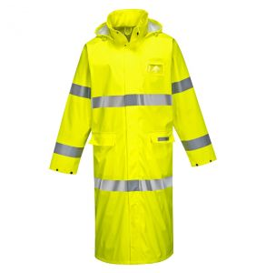 Portwest FR44 Hi Vis ANSI Class E Sealtex Flame FR Treated 50 Inch Safety Rain Coat