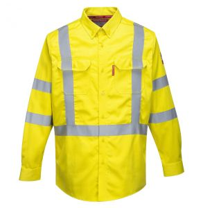 Portwest FR95 Hi Vis ANSI Class 3 Bizflame ARC-2 FR Button Up Long Sleeve Safety Shirt