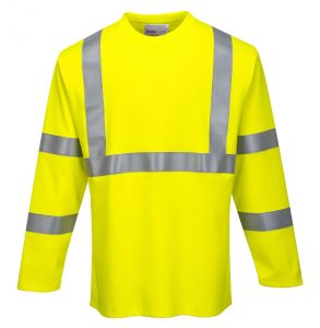Portwest FR96 Hi Vis ANSI Class 3 ModaFlame Anti-Static FR Long Sleeve Safety T-Shirt