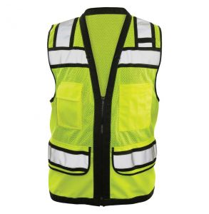 Hi Vis ANSI Class 2 Surveyors Contrast Zippered Mesh Safety Vest