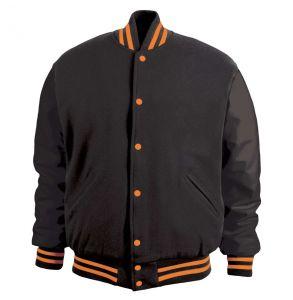 Legendary Varsity Wool / Leather Jacket - Made in the USA | Black / Orange