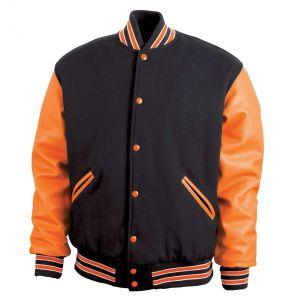 Legendary Varsity Wool / Leather Jacket - Made in the USA | Black / Orange / White