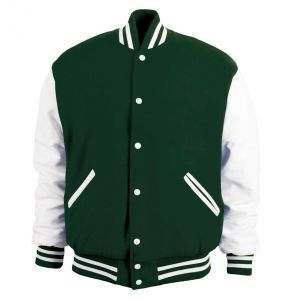 Legendary Varsity Wool / Leather Jacket - Made in the USA | Dark Green / White