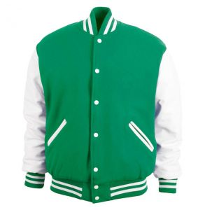 Legendary Varsity Wool / Leather Jacket - Made in the USA | Kelly Green / White