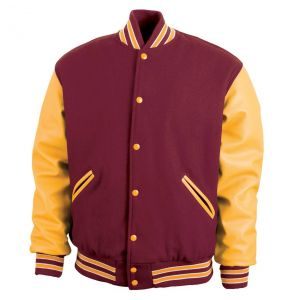 Legendary Varsity Wool / Leather Jacket - Made in the USA | Maroon / Athletic Gold / White