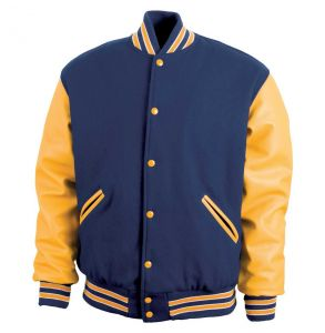 Legendary Varsity Wool / Leather Jacket - Made in the USA | Dark Navy / Athletic Gold / White