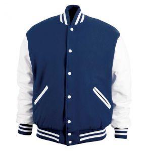 Legendary Varsity Wool / Leather Jacket - Made in the USA | Dark Navy / White