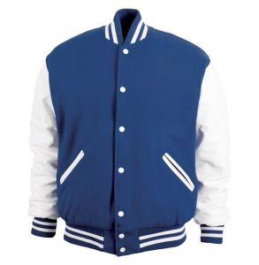 Legendary Varsity Wool / Leather Jacket - Made in the USA | Light Navy / White